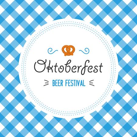 Oktoberfest poster vector illustration with fresh lager beer on blue white flag background. Celebration flyer template for traditional German beer festival. Pretzels and flag.