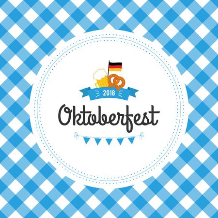 Oktoberfest poster vector illustration with fresh lager beer on blue white flag background. Celebration flyer template for traditional German beer festival. Pretzels, beer, sausage and flag. Vettoriali