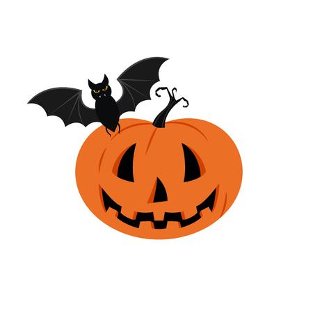 Halloween pumpkin vector background. Illustration of Halloween pumpkin with bats in white backgroun Ilustración de vector