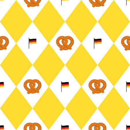 Munich beer festival flags and pretzels seamless pattern. Oktoberfet background, illustration
