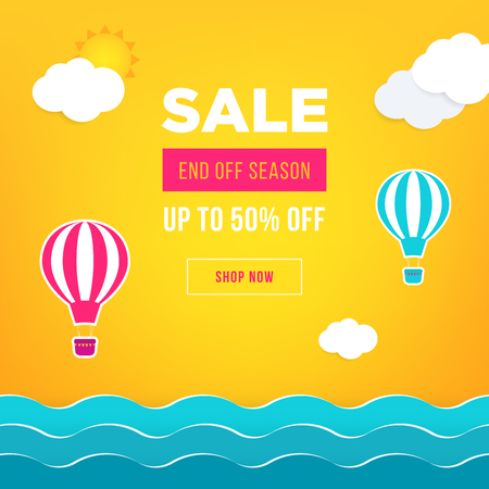 Sale banner template design. Web banner with hot air balloon, sea, sun, clouds for your site. Modern gradient style. Home page concept with text space background