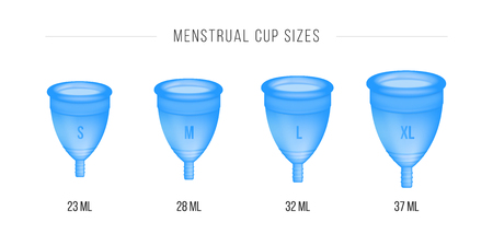 Menstrual cup set. 3D realistic. Female intimate hygiene, menstruation cup. Different sizes of cups S, M, L, XL. Vector illustration