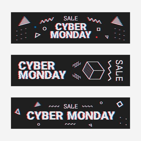 Template design geometric web banner set for cyber monday offer. Promotion design in glitch style with geometric particle for cyber sale. Memphis glitch. 8-bit pixel art style
