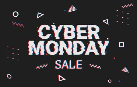 Template design geometric web banner for cyber monday offer. Promotion design in glitch style with geometric particle for cyber sale. Memphis glitch. 8-bit pixel art style