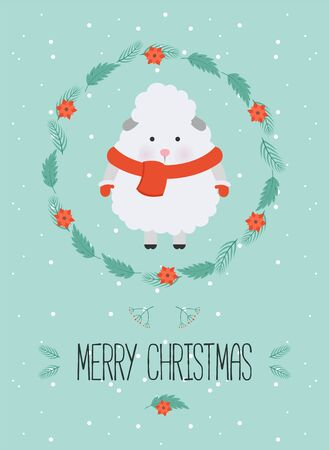 Cute christmas woodland character. Merry christmas card with cute sheep in winter clothes. New Year greeting cards. Hand drawn lettering. Christmas wreath