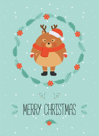Cute christmas woodland character. Merry christmas card with cute deer in winter clothes. New Year greeting cards. Hand drawn lettering. Christmas wreath