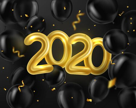 Happy New Year 2020. Background realistic golden and black balloons and serpentine. Object 3d figures. Decorative design elements. Celebrate party Poster, banner, greeting card. Festive illustration. Ilustrace