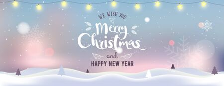 Christmas and New Year typographical on background with winter landscape with Northern Lights, snowflakes, light, stars and garland. Xmas banner. Celebrate party Poster, landing page, greeting card.