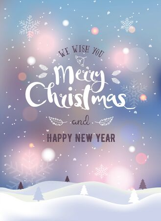 Christmas and New Year typographical on background with winter landscape with Northern Lights, snowflakes, light, stars. Xmas card. Vector Illustration. Illustration