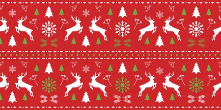 Christmas scandinavian red and green seamless pattern with gorgeous deer and snowflake. Winter background for Christmas or New Year design. Vector illustration. Nordic seamless pattern