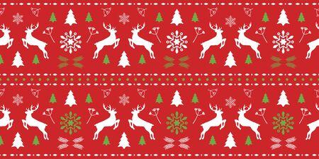 Modello senza cuciture rosso e verde scandinavo di Natale con splendidi cervi e fiocco di neve. Sfondo invernale per il design di Natale o Capodanno. Illustrazione vettoriale. Modello nordico senza cuciture