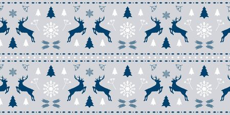 Christmas scandinavian seamless pattern with gorgeous deer and snowflake. Winter background for Christmas or New Year design. Vector illustration. Nordic seamless pattern