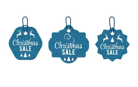 Christmas vintage tag set lettering in beautiful style on white background. Vector card design. Vector badge. Christmas tree decoration. Silhouette deer and tree. Design element set. Foto de archivo - 135501456