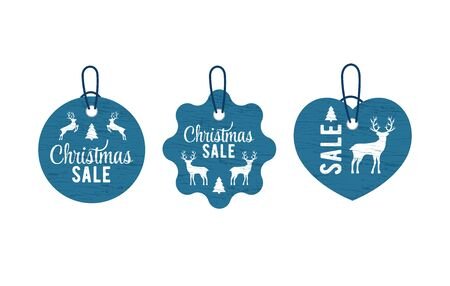 Christmas vintage tag set lettering in beautiful style on white background. Vector card design. Vector badge. Christmas tree decoration. Silhouette deer and tree. Design element set
