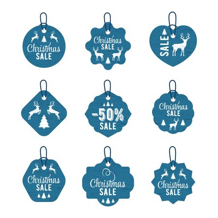 Christmas vintage tag big set lettering in beautiful style on white background. Vector card design. Vector badge. Christmas tree decoration. Silhouette deer and tree. Design element set Foto de archivo - 135501458