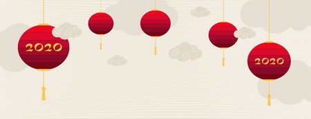 Vintage chinese banner with chinese new year 2020 on paper background for decoration design. Holiday background, poster, banner. Modern paper decoration, calendar design. Archivio Fotografico - 137857500
