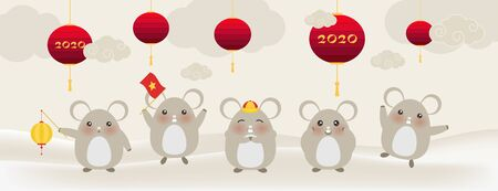 Five cute little rats, Happy new year 2020 year of the rat zodiac, Cartoon isolated vector illustration. Wishing you all success and wealth. Japanese style. Happy chinese new year Archivio Fotografico - 137857502