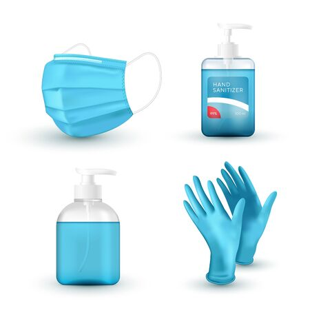 Realistic blue medical face mask, medical latex gloves, hand wash soap and sanitizer. Virus protection. 3D icon set. Vector illustration. Vector Illustratie