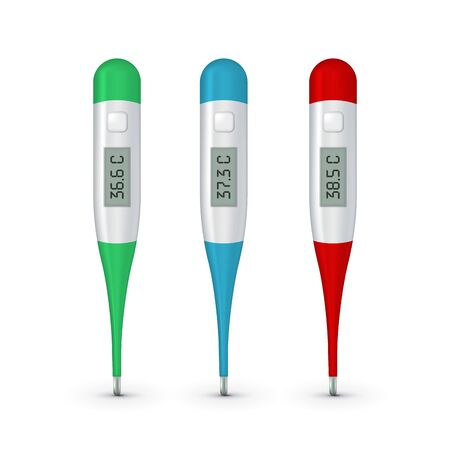 Vector realistic 3d celsius electronic medical thermometer for measuring set closeupisolated. Fever 37.3, 38.5 and normal 36.6. Design template of digital thermometer showing temperature
