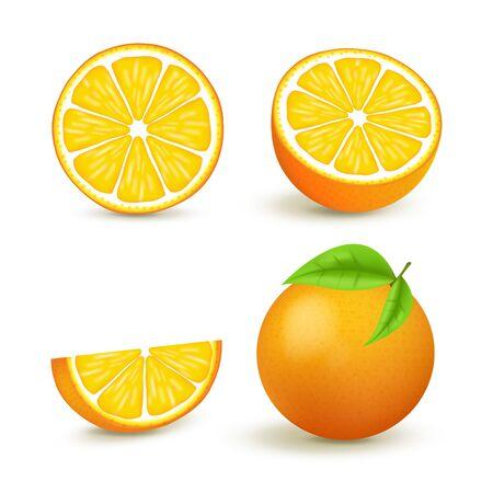 Juicy orange set with slice and leaves. Fresh citrus fruits whole and halves isolated vector illustration. 3D isolated on white background Ilustração