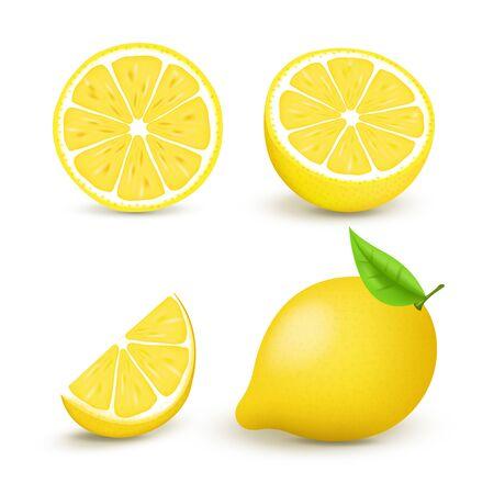 Juicy lemon set with slice and leaves. Fresh citrus fruits whole and halves isolated vector illustration. 3D isolated on white background Ilustração