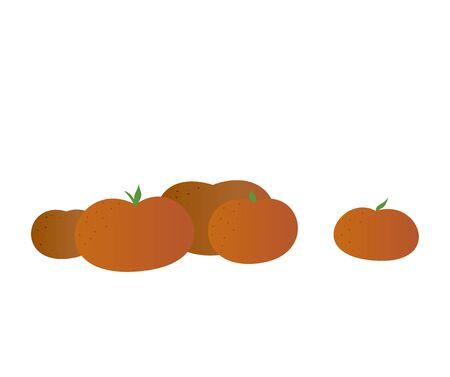 Isolated mandarin illustration. Flat simple style. Ripe tangerines. Illustration