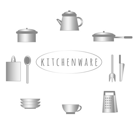 grater: Metallic kitchenware set. Cooking facilities. Simple style. Illustration