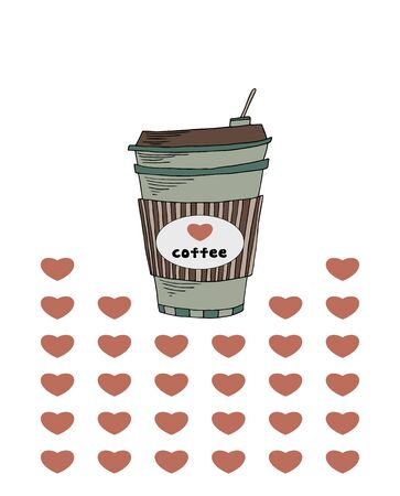 Cute coffe cup. Hurts background. Isolated object.