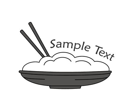 food plate: Asian plate of food. Chopsticks. Simple isoleted object. Icon.