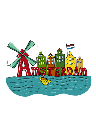 Amsterdam colorful city view. Hand drawn illustration.