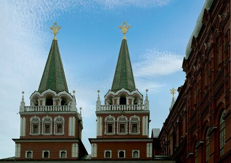 Towers of the Resurrection (Iversky) Gate on Red Square against the background of the summer sky. Moscow, Russia. Reklamní fotografie