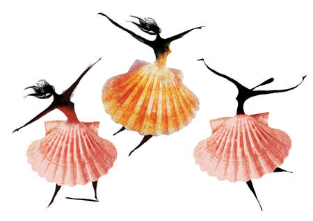 3 women dancing with scallop skirts