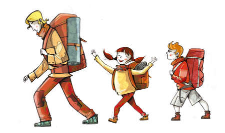 Illustration of family of hikers, walking with backpacks