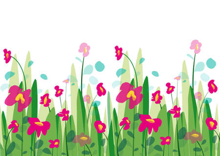 Spring background with grass and flowers with petals in the wind Vektorgrafik
