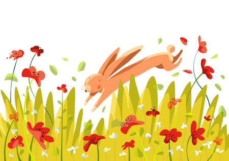 Spring background with rabbit in the meadow and flowers with petals in the wind