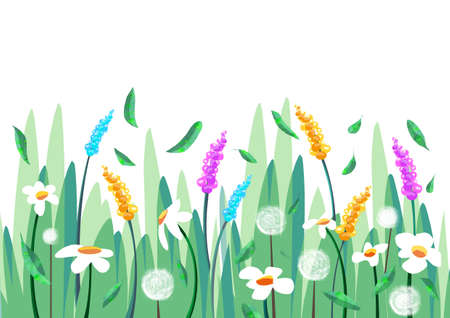 Spring background with grass and flowers with petals in the wind
