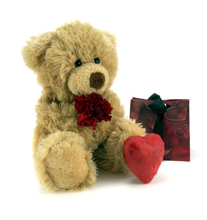 valentine s day teddy bear: Teddy holding red flower and love heart