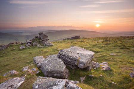 devon: Sunset from Hookney tor Dartmoor national park Devon Uk