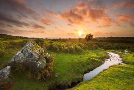 devon: Sunset at Sourton Dartmoor Devon Uk Stock Photo