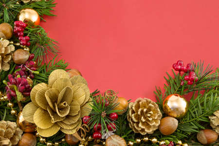 Christmas Decorations on a red background photo