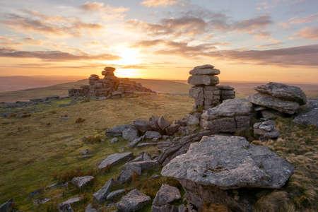 devon: Sunset Staple Tor Dartmoor Devon Uk Stock Photo