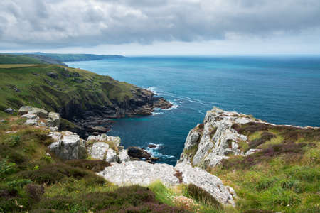 english west country: South west coast path near Treen Cornwall Uk