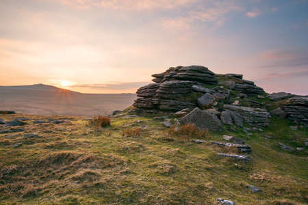 english west country: Sunset east mill tor Dartmoor Devon Uk