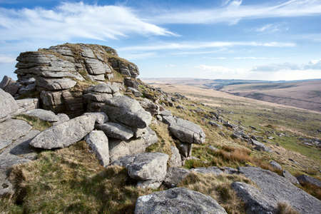 english west country: Longaford Tor Dartmoor National Park Devon Uk
