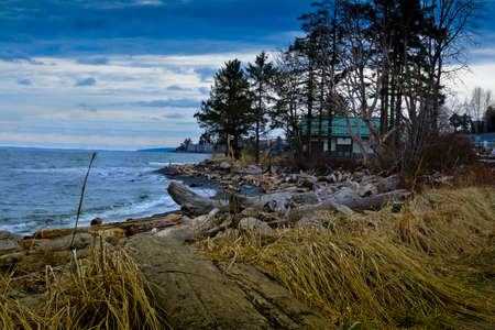 On Discovery Passage, the coastline of East Vancouver Island looking south east from Campbell River.