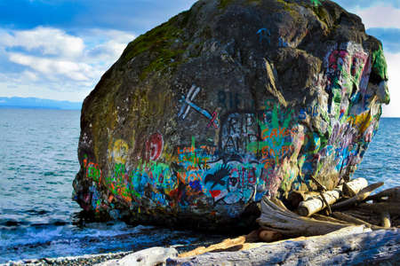 Is it a remnant of the Wisconsin Ice Age or of Native folklore origins? The legendary Big Rock on the shore of Campbell River in Discovery Passage.