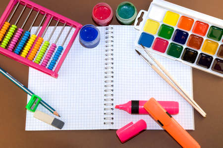drawing pad: paint and drawing pad for children Stock Photo