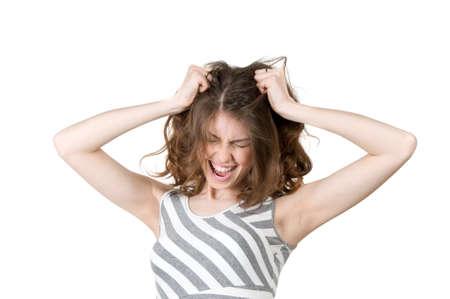 despair: young girl screaming in despair Stock Photo