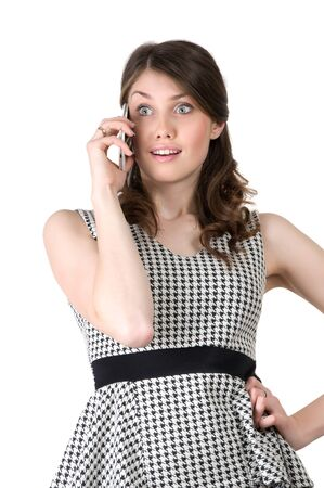 knew: young beautiful woman on the phone knew the shocking news and held her breath Stock Photo
