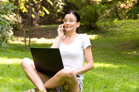 permanently: Freelancer works permanently. Girl shocked by the news over the phone.